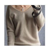 sexy suéteres de cuello v al por mayor-Mujeres suéteres de cachemira suéter de las mujeres del estilo Sexy cuello en V suéter de lana del suéter de la manga del Batwing más el tamaño S-4XL Pullover