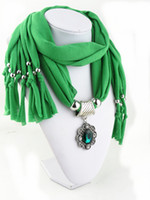 Wholesale crystal shawls for sale - Group buy Women Crystal Gem flower Pendant Fabric Shawl Scarf Necklace Jewelry scarves for women colors