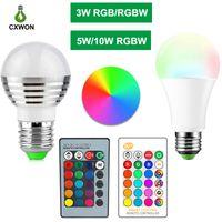 Wholesale power led bulbs resale online - E27 E14 LED Color Changing RGB rgbw Light Bulb Lamp V RGB Led Light Spotlight IR Remote Control