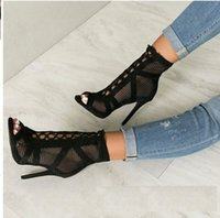 9d8d9854ffc XingDeng Net Hollow Sexy Girls Bandage Lace Up High Heels Sandals Shoes  Women Ankle Strap Party Peep Toe Thin Heels Dress Shoes