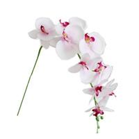 orquideas rosas artificiales al por mayor-Simulación de la orquídea de mariposa real tacto de seda artificial flores Multi usos orquídea de mariposa Para la decoración del hogar de la planta de color rosa