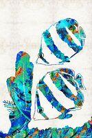 pintura a óleo dos peixes moldada venda por atacado-Anjos azuis coloridos peixe Unframed Modern Canvas Wall Art for Home and Office Decoração, pintura a óleo, pintura animal, quadro de pintura