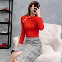 botões de camisola preta ouro venda por atacado-Novo 2019 outono inverno botões de cor de ouro de manga longa camisola de malha tops caixilhos de cor sólida sexy pullovers vermelho azul preto