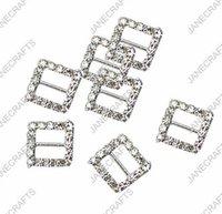 bikinis elmas taklidi konektörler toptan satış-15mm 30 adet Kare Rhinestone Toka Davet Şerit Slider Düğün Tedarik Gümüş Rengi Için rhinestone bikini konnektörler