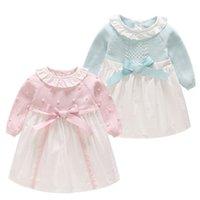 kızlar için şirin balo elbiseleri toptan satış-Bebek Kız Yay Örgü Elbise Yenidoğan Bebek Giyim Gömlek Uzun Kollu Sevimli Kazak Balo Bebek Kız Elbise LJJS124