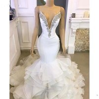 Wholesale organza mermaid ruffle wedding dress resale online - 2020 Simple Sexy Arabic Mermaid Wedding Dresses Deep V Neck Crystal Beaded Organza Tiered Ruffles Chapel Train Formal Plus Size Bridal Gowns