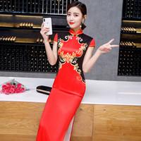 red vintage cheongsam plus größe großhandel-Red Print Floral handgemachte Taste Silm Qipao chinesischen traditionellen Frauen Kleid Vintage Lady Sexy Rayon Cheongsam Plus Size 4XL