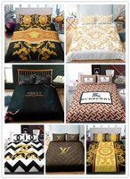 3d bedding set оптовых-3D мода логотип печати роскошный комплект постельных принадлежностей с наволочками набор Твин полный королева король размер