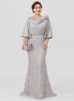 dantel fermuar denizkızı gelinlik toptan satış-2019 Artı Boyutu anne Gelin Elbiseler Yarım Kollu Fermuar Geri Düğün Konuk Elbise Mermaid Dantel Akşam Parti törenlerinde