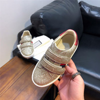 Wholesale sneakers for toddlers resale online - Shimmery Sneakers for Girls High Quality Designer Shoes for Toddler Girls Footwear Glitter Genuine Leather Shoes