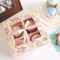embalagem de caixa cor-de-rosa venda por atacado-100 pcs pink rose pattern 4-cups muffin bolo caixa De biscoito mooncake Presente Caixa De Papel Pudim De Chocolate Lanches Embalagem wen5716 20180920 #