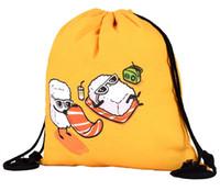 harajuku koşu torbası toptan satış-39x30 cm Harajuku Sevimli Bez İpli Çanta Tuval Sarı Komik Kawaii Saklama Torbaları Sırt Çantası 3d Baskılı Bayan Hediye Çantası