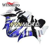 satış sonrası motosiklet plastikleri toptan satış-Beyaz Mavi Yamaha Için Tam Enjeksiyon Plastik Kaporta YZF1000 R1 2002 2003 Komple Bisiklet Vücut Kaporta Aftermarket Motosiklet ABS Kaporta