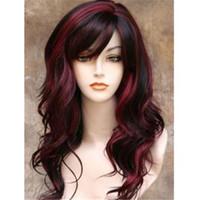 peluca rizada completa roja al por mayor-Hermosa moda mujer largo negro rojo mezclado ondulado pelo rizado Kanekalon resistente al calor Cosplay Party Hair peluca llena pelucas