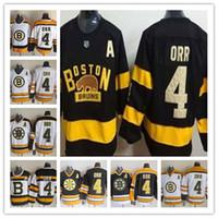 jersey noir à rayures jaunes achat en gros de-# 4 Bobby Orr Jerseys Hockey Classique Hiver 75th Stripe CCM Vintage Alternate Blanc Noir Jaune Uniformes