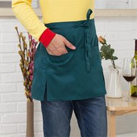 Wholesale cooking color oil for sale - Group buy Kitchen Cooking Aprons Adult Solid Color Oil Proof Work Dining Apron Half length Long Waist Apron Chef Cafe Bar Cooking Bibs