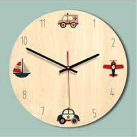 Wholesale sky airplane for sale - Group buy DIY Modern Design Wall Clock D European Decorative Cartoon Wooden Wall Clocks Watch for Kids Room Living Room Airplane