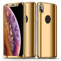 iphone espejo de vidrio electrochapa al por mayor-360 Estuche con curvatura completa con espejo electrochapa y vidrio templado para Iphone XS Max XR 8 Plus Samsung Note9 S9 S8 Plus en el bolso OPP