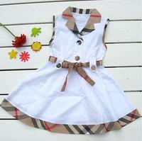 kız bebek kıyafeti lüks toptan satış-Patlama Lüks Kız Kolsuz Elbise Çocuk Giyim Elbiseler Tasarımcı Giyim Etek Bebek Çocuk Ekose Yay Kız Elbise