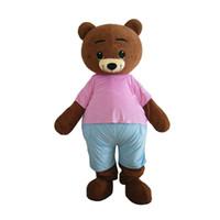 oyuncak ayı kostümleri özel toptan satış-Sevimli Teddy Bear Özel Maskot Kostüm Yetişkin Karikatür Kostüm Ticari Reklam Için Fan Ile Fan