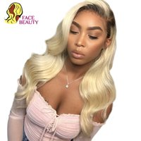 Wholesale brazillian human hair wigs resale online - Facebeauty Long Density Remy Brazillian Body Wave Lace Front Wig b Ombre Blonde Colored Preplucked Lace Wig Human Hair Y190713