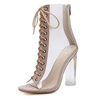 wc cover al por mayor-Sandalias de tacón alto con cordones Peep-toe de plataforma con cuña transparente para mujer Sandalias de tacón alto Zapatos