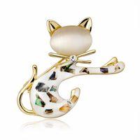ingrosso cappelli di gatto per le donne-Semplice Shell strass Lovely Cat Pin spilla per le donne degli uomini Moda animale carino cappello Borse corpetto vestito camicia accessori gioielli
