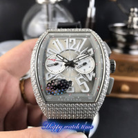 Wholesale three dial mens watch for sale - Group buy High version V45 SC DT D Three Dimensional Dial Silver Diamond Case Automatic Mechanical Movement Mens Watch Black Leather Strap Watches