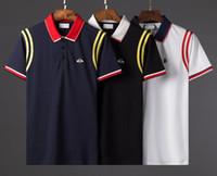 polo de líneas al por mayor-19ss nueva alta calidad nueva moda polo europeo línea de ropa de fiesta de los hombres con las abejas ocio apretado camiseta Hot money hombres GG polos