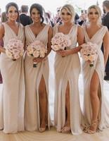fotos vestidos azuis venda por atacado-Real imagem vestido madrinha Fenda Da Sereia Da Dama de Honra Vestidos Longos Sexy Backless Vestido de Festa de Casamento 2019 Com Decote Em V Noiva Vestidos de Dama de Honra