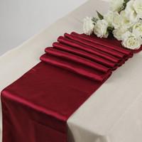 corredores de mesa de casamento borgonha venda por atacado-decorar cocktail cetim corredores borgonha (1 pcs) 12 \