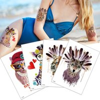 Wholesale indian tribe for sale - Group buy Cartoon Cute Giraffe Tribe Indian Tiger Waterproof Temporary Tattoo Sticker Body Art for Women and Men Kids Holiday Beach Party Tattoos Gift