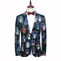 Wholesale stylish blazers fashion resale online - Fashion Mens Blazer Luxury Jacquard Flower Blazer Slim Masculino Prom Party Cloth Jacket Mens Stylish Blazer Plus Size xl