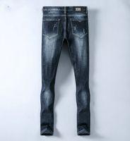 ingrosso marche di jeans cinesi-Nuovi progettista AMN marchio di jeans da uomo di moda boutique pantaloni stile cinese ricamo rettilineo casuali pantaloni primavera Slim