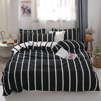 Wholesale queen size cotton quilt sets resale online - MENGZIQIAN The New bedding set NORDIC Fashion High Quality Multiple sizes stripe quilt sheet Pillowcase