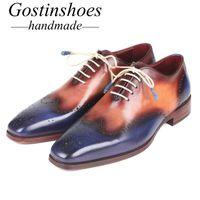 ingrosso scarpe marrone wingtip-GOSTINSHOES HANDMADE Goodyear Welted da uomo Oxford in pelle marrone blu Wingtip Lace-up per ufficio scarpe da sposa uomo fatto a mano SCZ033