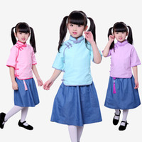 ingrosso vestiti di lino d'epoca-vendita al dettaglio per bambini abiti firmati abiti 2019 cotone e lino cheongsam in due pezzi coordinati set per bambina tuta bambina abiti retrò vintage set