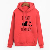 толстовка панда оптовых- tracksuis fashion women long sleeve hoodies 2019 moleton feminino fleece hoodies Panda I HATE MORNINGS sweatshirt female