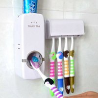 dispensador de pasta de dientes para montaje en pared al por mayor-Dispensador automático de pasta de dientes 5 Soporte para cepillo de dientes Soporte montado en la pared Baño