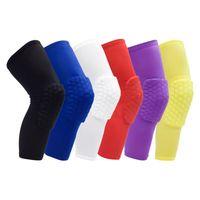 basketbol dizlik yastıkları toptan satış-2019 güvenlik basketbol diz pedleri Yetişkin / çocuk Nemli Yerleşimler petek ped Bacak diz desteği buzağı sıkıştırma dizkapağı bisiklet diz koruyucu