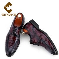 vestido de noche de zapatos burdeos al por mayor-Borgoña Zapatos clásicos de los hombres Topsiders zapatos de vestir para hombre del cuero auténtico Sipriks Oficina de boda de los novios la noche zapatos Sociales