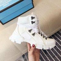 gummistiefel großhandel-Flashtrek Sneaker Damen braune Leder Sneakers Luxury Rubber Logo Designer Sneaker Stiefel technische Segeltuchschuhe Frauen