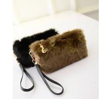 Winter Faux Fur Rabbit Hair Clutch Bag Korean candy color clutch bag  banquet fashion handbags Elegant women s wallet purse de8e4581d0726