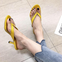 Wholesale beauty heels shoes for sale - Group buy Shoes Slides Shallow Slippers Women Summer Heeled Mules Fenty Beauty Ladies Flip Flops Thin Heels Sliders High Flat Luxury