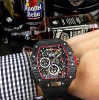 correia mecânica venda por atacado-RM50-03 Série Automática Mecânica Moement Relógio Dos Homens 40x50x16mm De Fibra De Carbono Caso De Borracha ou Nylon Relógio Cinto / Fivela Dobrável