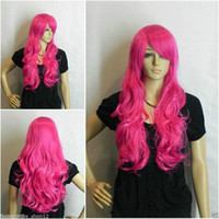 ingrosso parrucca rosso rosa scuro-Shun Long Wavy Dark Pink / Rose red Cosplay donne parrucca USPS FastShipping negli Stati Uniti j0537
