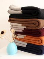 wolldecke stoff großhandel-GROßER VERKAUF schnelles Verschiffen beste Quailty H Wolle Decke Orange schwarz grau blau für Betten Sofa Plaid Stoff Fleece tragbare Klimaanlage Reisen