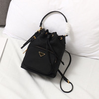 Wholesale black leather drawstring bag resale online - Mini Bucket Bag Handbags Bag String Fashionable Solid Color Leather Drawstring Satchel Good Quality Removable Shoulder Strap