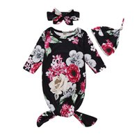 Wholesale elephant print baby clothes for sale - Group buy Newborn Floral Sleeping Bag Style Flower Printed Baby Swaddle Infant Cartoon Floral Elephant Baby Sleep Sacks With Headband Hat