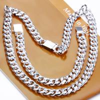 hombres 925 juegos de plata collar pulseras al por mayor-Sistema de la joyería al por mayor 925 joyería de plata 925 Hombres 1 + 1 sistemas de la joyería Cadena Figaro de la pulsera del collar + de plata esterlina para Hombres